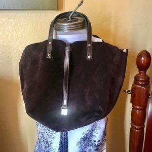Tiffany&co chocolate brown reversible satchel